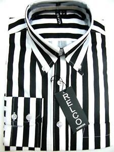 2b8d9850e9398 Mens Black and White Striped Shirts