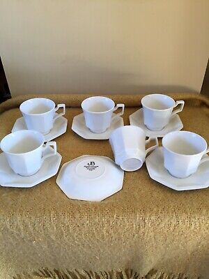 Johnson Brothers Ironstone Heritage White Design Tea Cups and Saucers X 6