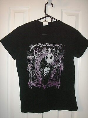Nightmare Before Christmas Mr Unlucky Jack t shirt large black with cap sleeves ()
