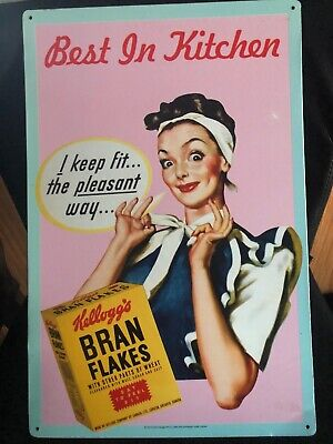 Kellogg's Metal Advertisement Tin With Bran Flakes I KEEP FIT BEST IN