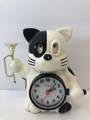 Vintage Rhythm Japan Quartz Alarm Clock Cat Bugle Reveille Wake Up Rise & Shine