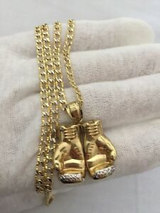 "22""10K Italian Gold Curb Chain + 10K Gold Boxing pendant"