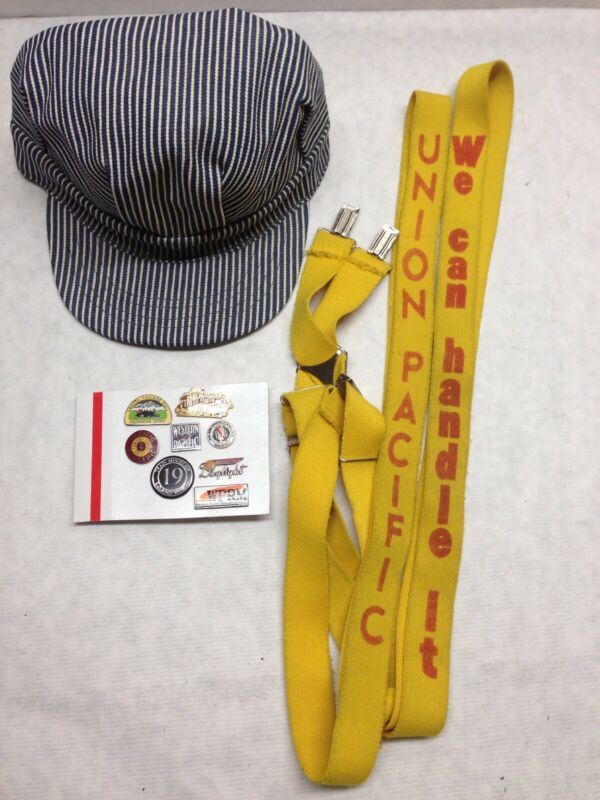 VTG 1970s Union Pacific Western Suspenders Pins HAT train engineer conductor LOT