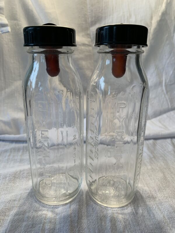 2 Vintage Evenflo Glass Nursing Baby Bottle Pyrex Feeding Bottle Old Stock
