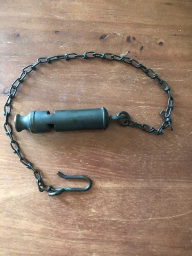 WWI Trench Whistle with Chain made by Horstmann Phila
