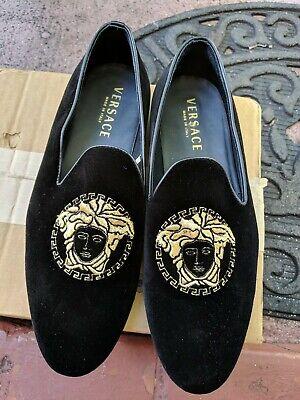 Versace Men's Shoes 6488 Velvet Loafer In Black Sz 39 1/2