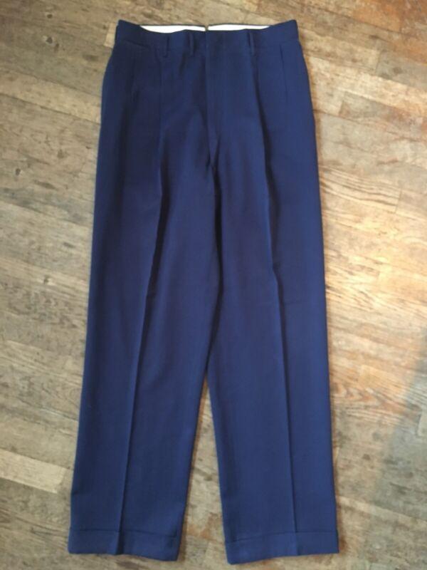Vtg 1940s 50s Blue Gabardine Slacks Mens 33-34 Rockabilly Pants Drop Loop Baggy