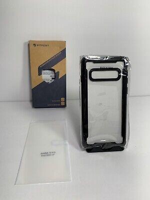 FITFORT Samsung Galaxy S10 Case Full Body Rugged Heavy Duty Clear Bumper Black