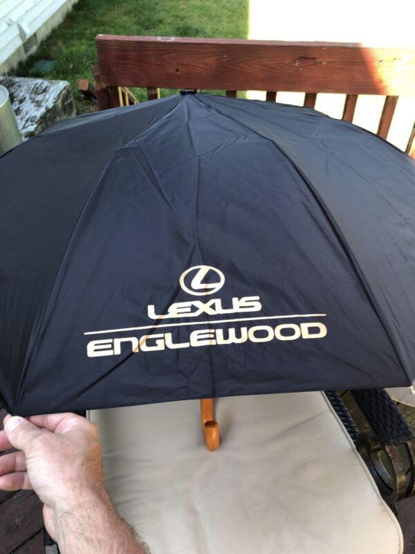 Automatic Folding Black Lexus Englewood NJ Dealership Umbrella Wooden Handle