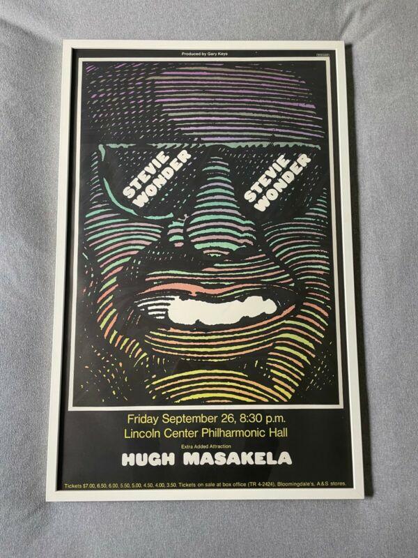 Vintage Stevie Wonder Concert Poster by Milton Glaser, Framed