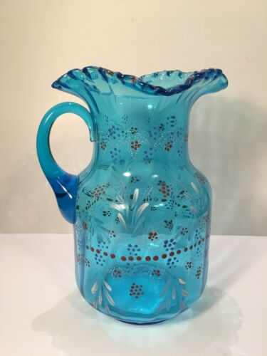 Vintage Victorian Hand Painted Blue Glass Pitcher