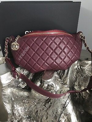 e6ab932f905a NWT CHANEL BURGUNDY WAIST BAG 18K BELT BUM Fanny Pack GOLD TRAVEL RARE 2018  RED