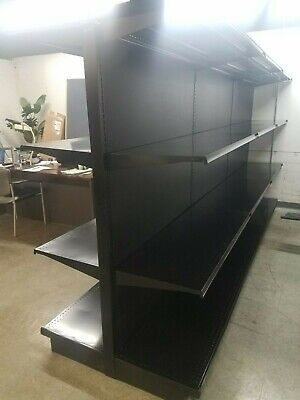 Used Supermarket Store Metal Lozier Gondola Island Shelving Black Reconditioned