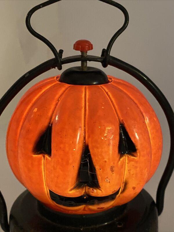 Vintage Halloween Lantern Jack-O- Lantern Pumpkin Hong Kong Metal Works
