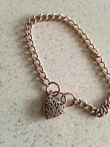 Solid rose gold locket bracelet Fennell Bay Lake Macquarie Area Preview
