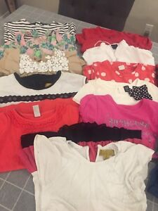 Girl lot size 4 2 dresses and 10 shirts