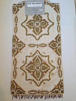 New Kim Seybert Copper Gold Wood Pearl Sequins Beaded neutral Table Runner 19x72