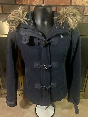 Abercrombie Women's Faux Fur Trim Hooded Wool Winter Jacket Coat Navy Size Small