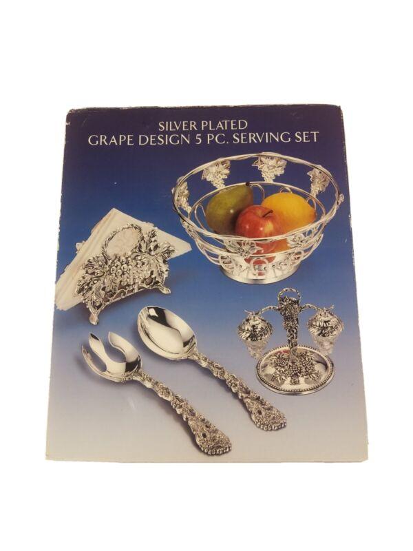 Godinger Silver Plated Grape Design 5 PC. Serving Set style #60241