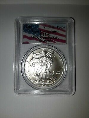 "2001 American Silver Eagle WTC Ground Zero 9/11 Recovery ""Gem Uncirculated"" PCGS"