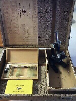 Vintage Spi Microscope Kit W Carrying Case Slides Dissecting Kit