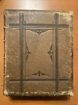 Antique 1872 Large Victorian Bible Leather Dore Illustrations Genealogy Gower ME