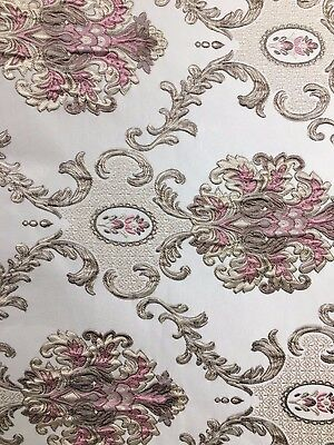 PINK TAUPE Damask Brocade Upholstery Drapery Fabric (54 in.) Sold BTY ()