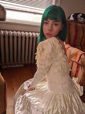 Vtg 1980s Jessica McClintock Victorian Dropwaist Wedding Dress Lace Open Back 7 Jessica Lace Wedding Dress