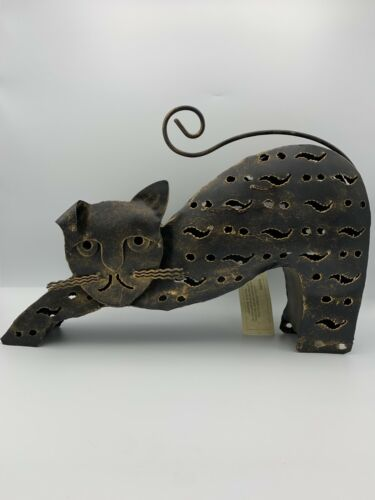 Halloween Black Cat Metal Votive Tealight Candle Holder New with Tag