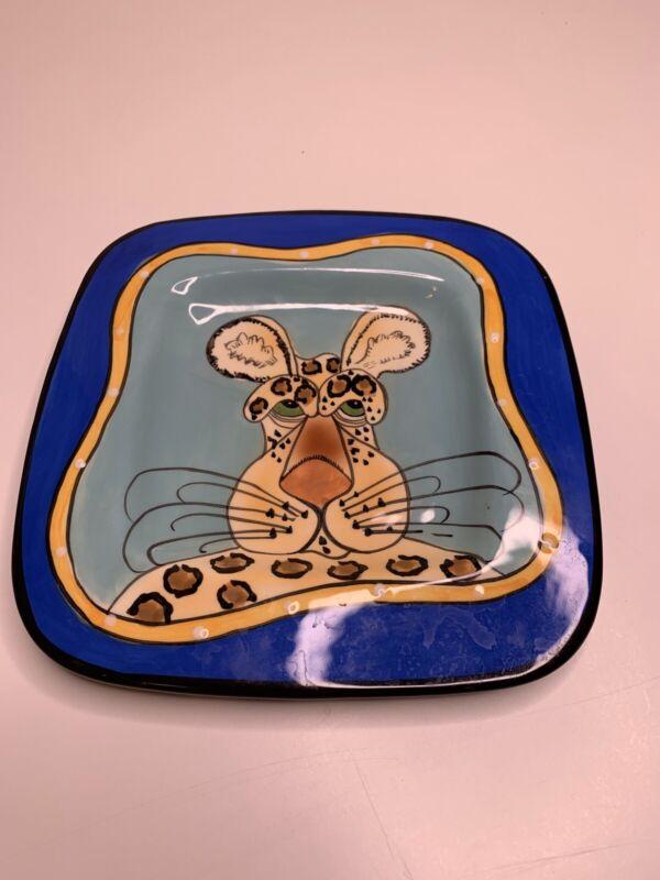 Lynda Corneille SWAK Hand Painted & Signed Hanging Art Plate Cheetah Cat RARE