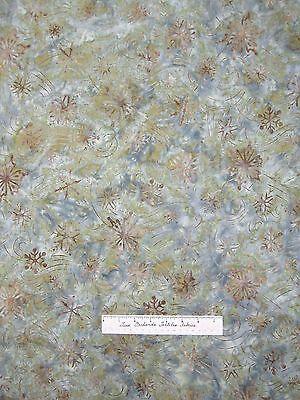 Christmas Batik Fabric - Northwoods 3 Snowflake Green Blue - Robert Kaufman 23