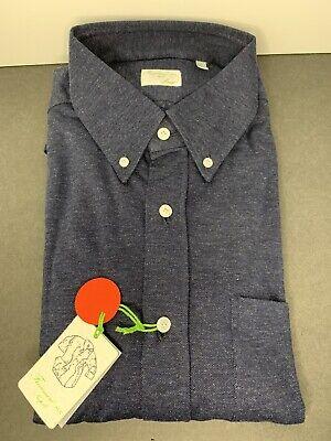 NWT Finamore 1925 Napoli Leonardo Inteno 92% Cotton BLUE A2-09