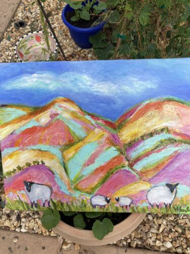 Sheep In New Mexico Field At Sunrise An Acrylic Original Painting 29 x16  - $119.00
