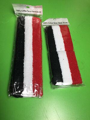 - Cotton HeadBand WristBand Sweatband Set Black White Red Stripe