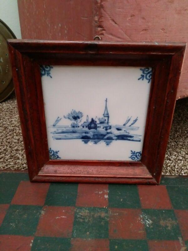 19th Century Framed Delft Tile c.1840