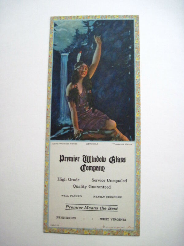 "Vintage Enchanting Indian Princess Themed Ad Blotter  ""Premier Window Glass Co.*"