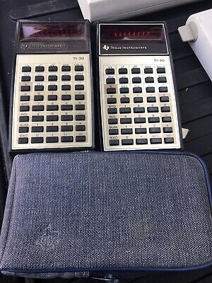 Vintage Texas Instruments Ti-30 Calculator With Case Red Led Display Case