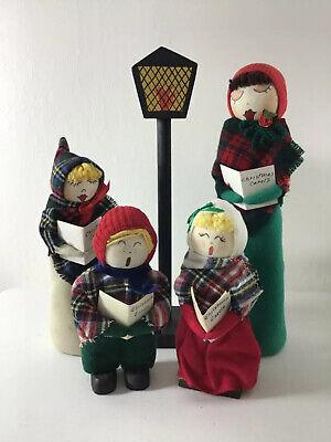 Vintage Handmade Christmas Carolers Cloth Dolls Set Painted Faces Plaid Lamppost