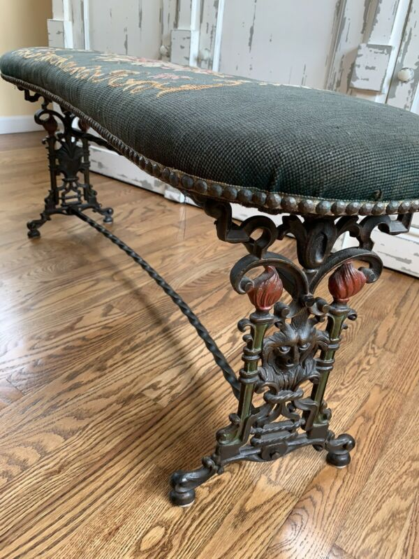 Antique Vintage Art Deco Gothic Cast Iron Curved Seat Bench Neddle Point Top