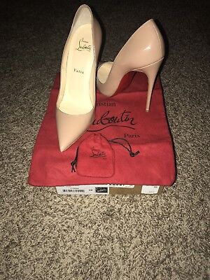 Lightly Used Christian Louboutin So Kate 120mm Patent leather Red Bottom Nude 39