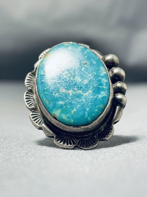 SUPERB VINTAGE NAVAJO SIGNED PILOT  MOUNTAIN TURQUOISE STERLING SILVER RING