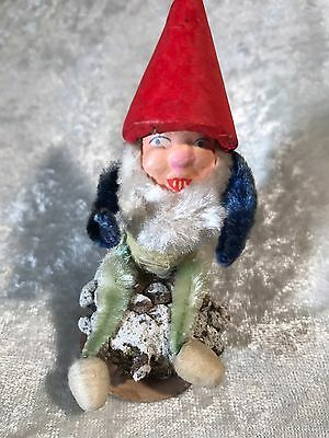 Vintage Paper Mâché Face Spun Cotton Pipe Cleaner Elf Christmas Ornament