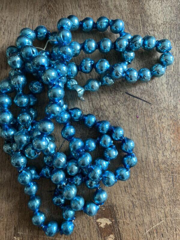 """Vintage Christmas Glass Teal Blue Bead Garland 60""""    #5B"""