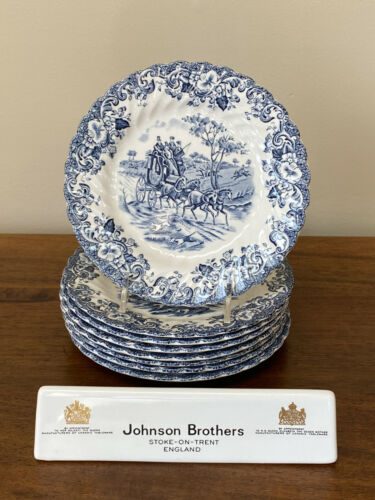 Johnson Brothers COACHING SCENES BLUE Bread & Butter Plates ~ Set of 8