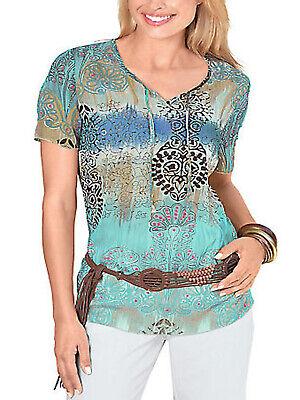 Batik-print Top (AKTUELL Damen Sommer Tie-Dye BATIK Shirt Tunika Top BLAU/AQUA Print NEU )