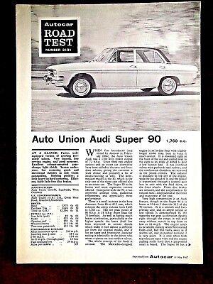 AUTO UNION AUDI SUPER 90 - 1,760cc -1964 - Original AUTOCAR Road Test Leaflet