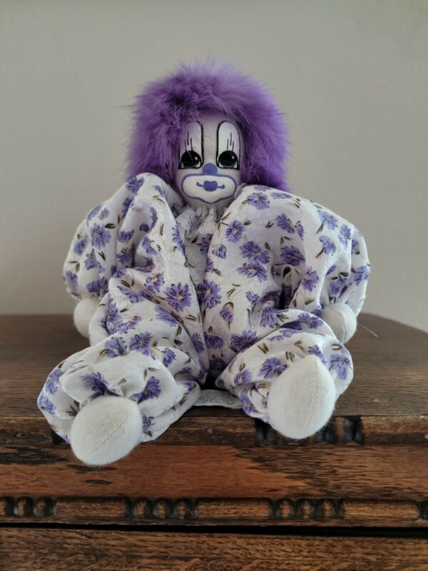 """Vintage Q The Clown Doll with Purple Hair and Purple Flowers are clothes 8"""" 1987"""