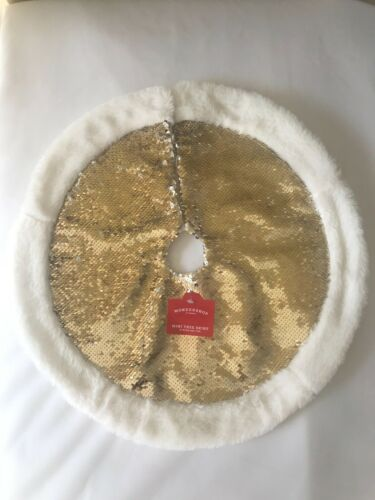 "Sequins Mini Christmas Tree Skirt Gold /Silver 18"" White Fur Trim Wondershop"