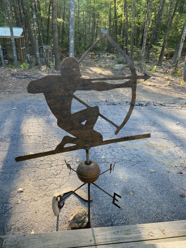Antique Painted Sheet Iron Weathervane Kneeling Warrior w/Bow