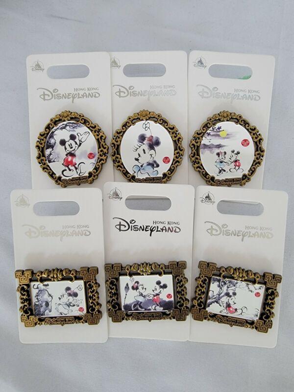 Hong Kong Disneyland Mickey Minnie Sketch Portrait Art Pins Set